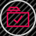 approved, check, folder, mark, menu, ok icon
