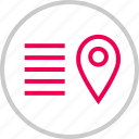 description, direction, location, menu, options, pin icon