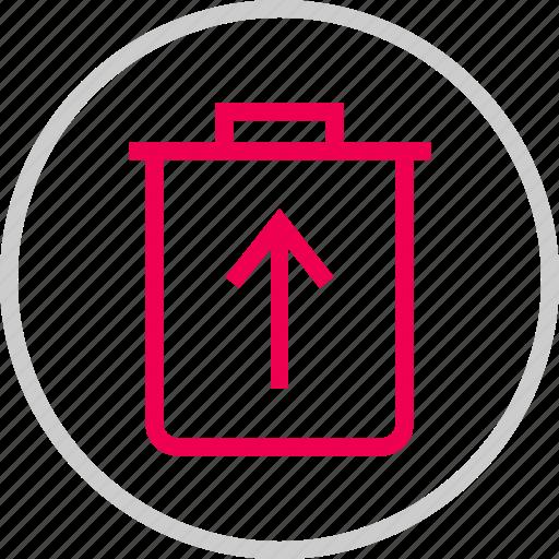 arrow, bin, can, menu, restore, trash, up icon