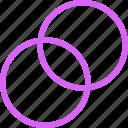 actions, circles, diagram, intersecting, purple, ui, venn, visual icon