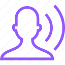 audio, hearing, human, person, purple, sound, user, wave icon