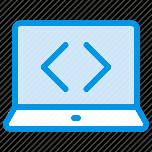 coding, device, laptop, programming icon
