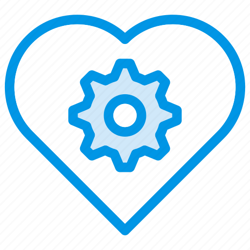 config, gear, heart, setting icon