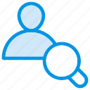 employee, magnifier, search, user icon