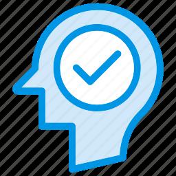 brain, head, mind, tick icon