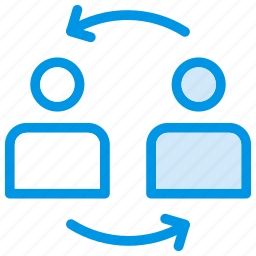 communicate, employees, reload, user icon