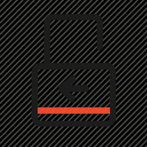 arrow, key, left, lock, open, unlock icon