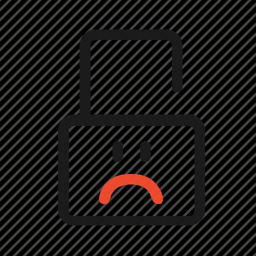 face, lock, open, problem, sad, secure, unlock icon