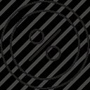 circle, discount, interface, percentage, sale icon icon