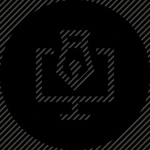 graphic, ink, laptop, paint, pc, pen icon