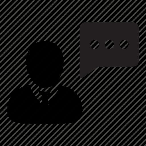 business, chat, communication, man, message, speech, talking icon