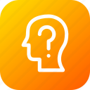 answer, confused, human, interface, question, user icon