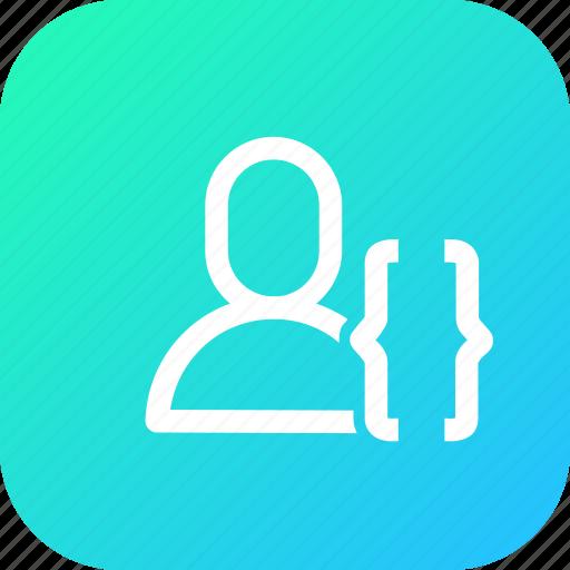 app, bracket, interface, use, user icon
