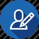 add, edit, interface, pen, pencil, user, write icon