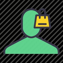 bag, bascket, bucket, lock, secure, shop, user icon