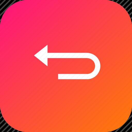 arrow, interface, left, round, straight, turn icon