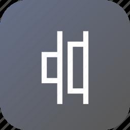 align, center, distribute, horizontal, right, tool icon