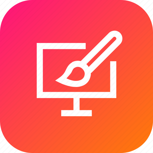 brush, drawing, graphic, interface, monitor, paint icon