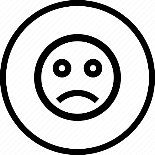 circle, emoji, emotion, face, moodless, round, sad icon