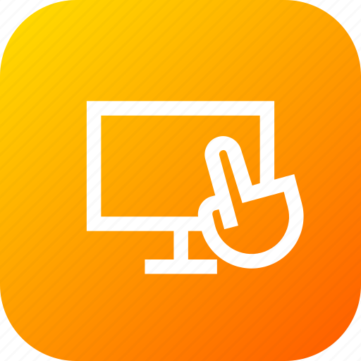 finger, gesture, laptop, pc, screen, touch, touchscreen icon