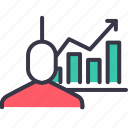 businessman, employee, growth, performance, rising, statics, upwards icon