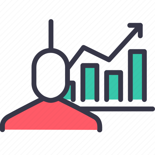 businessman, employee, growth, performance, rising, statics, upwards icon