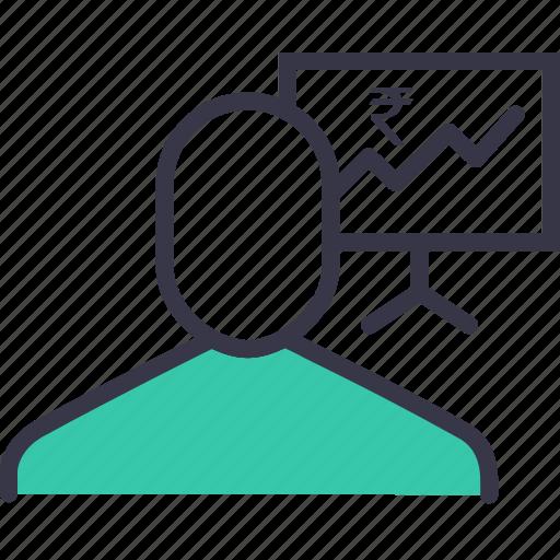 analysis, businessman, employee, finance, graph, rupee, statics icon