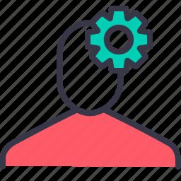 avatar, employee, gear, optimization, preferences, settings icon