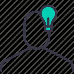 creative, idea, lamp, man, person, thinking, user icon