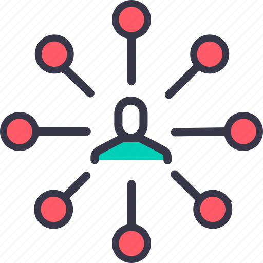 center, connection, hierarchy, link, man, node, user icon
