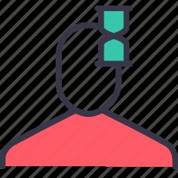 businessman, hourglass, management, salt, time, timer, watch icon