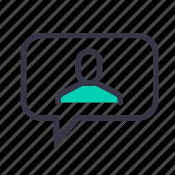 bubble, chatting, conversation, employee, man, message, talk icon