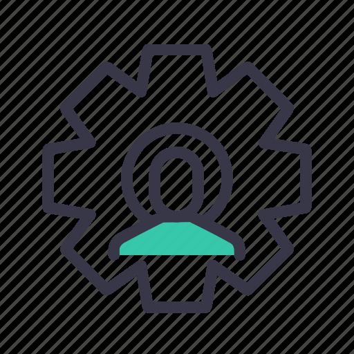 configure, employee, gear, man, optimization, preferences, setting icon