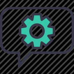 bubble, configure, gear, optimization, preferences, setting, wheel icon
