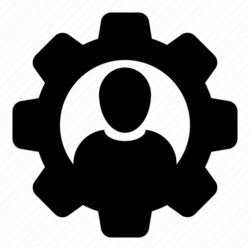 business, cog, configure, gear, man, person, settings icon