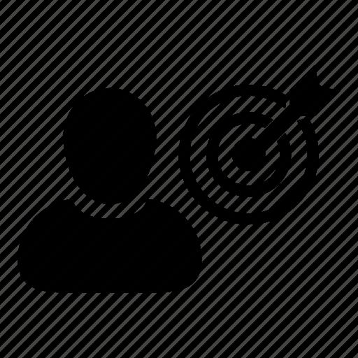 bullseye, business, dartboard, goal, man, marketing, target icon