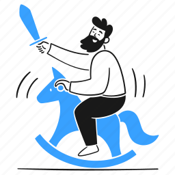 silly, toy, being, sword, horse, joke, absurd, wooden, childish, user, crazy, ridiculous