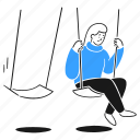 feeling, lonely, 1, user, sad, alone, depressed, swing, park, woman, solitary, sitting icon