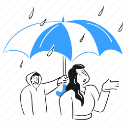 rainy, protect, umbrella, rain, woman, help