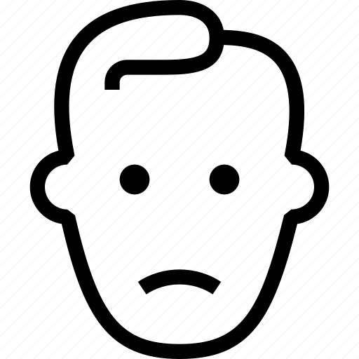 emoji sad, face, sad, serious, start, user, view icon