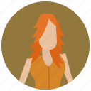 account, avatar, ginger, user, woman icon
