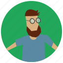 avatar, beard, man, user icon