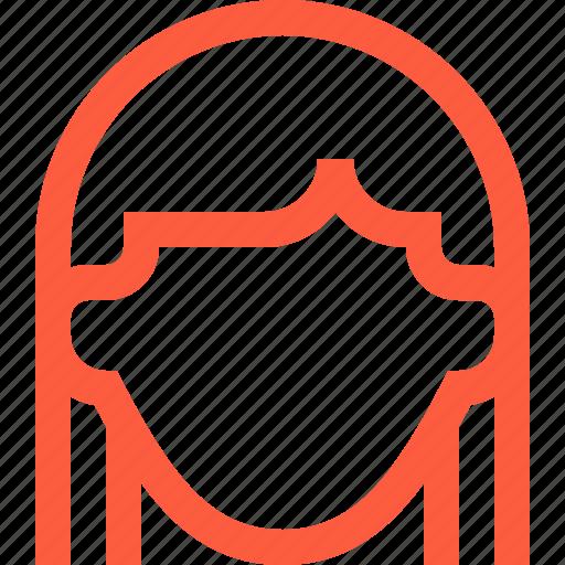 child, female, girl, head, kid, profile, user icon