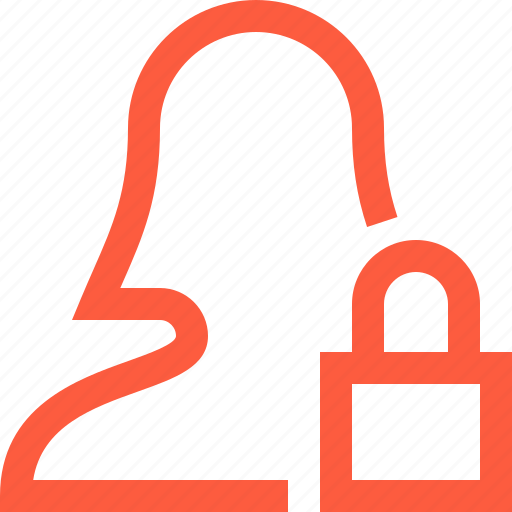 access, female, lock, password, secure, security, user icon