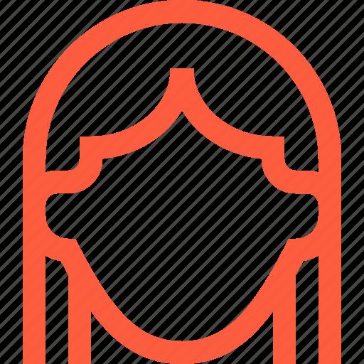avatar, face, female, girl, head, profile, user, woman icon