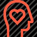 care, head, health, heart, life, love, user icon