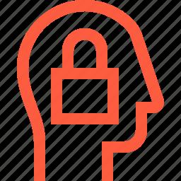 block, head, lock, padlock, password, protection, secure, user icon
