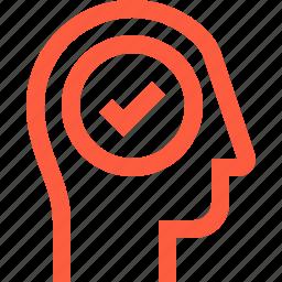 check, complete, done, head, success, tick, user icon