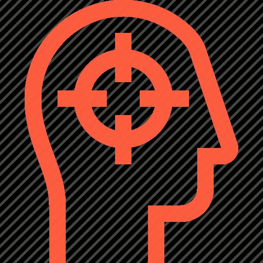 aim, focus, head, profile, select, target, user icon