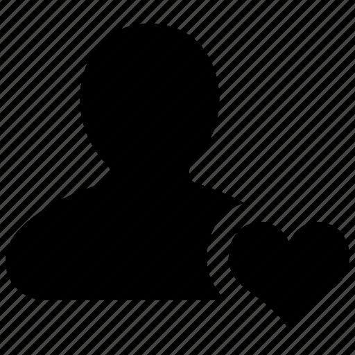 favorite, friend, heart, person, profile, user icon